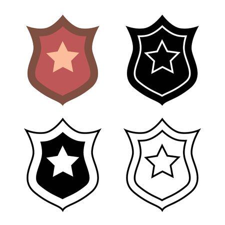 Policeman badge set. Emblem of a human rights defender, police officer. Trendy flat style for graphic design, web-site. Stock Vector illustration