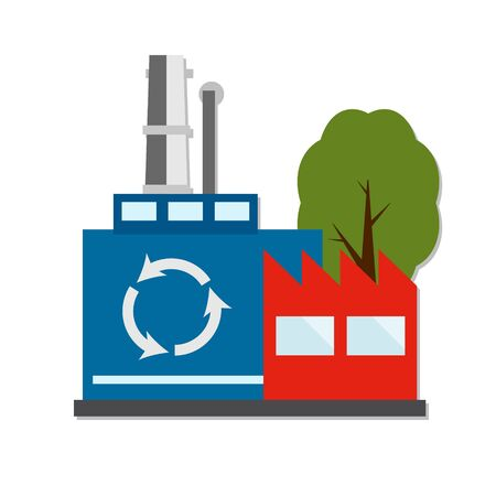 Perspective view on four power electricity industry factory building in cartoon style. Green manufacturing and ecology recycling producing. Isolated vector flat illustration. EPS 10 Ilustração