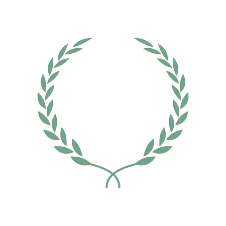 Laurel wreath isolated Illustration. Laurel leaves symbol of high quality olive plants. Trendy flat style for graphic design, web-site