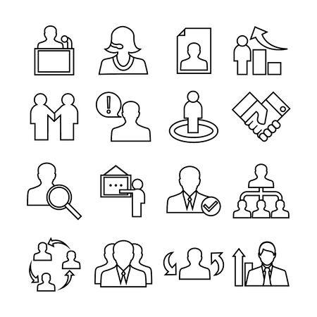 Human management icons set. Trendy flat style for graphic design, web-site. Stock Vector illustration Ilustração