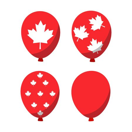 Glossy Balloons set with Canada Day in trendy flat style isolated. Stock Vector illustration Imagens - 148016323