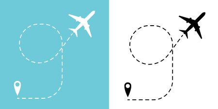 Airplane track to point with dashed line way or air lines, plane icon Vector illustration