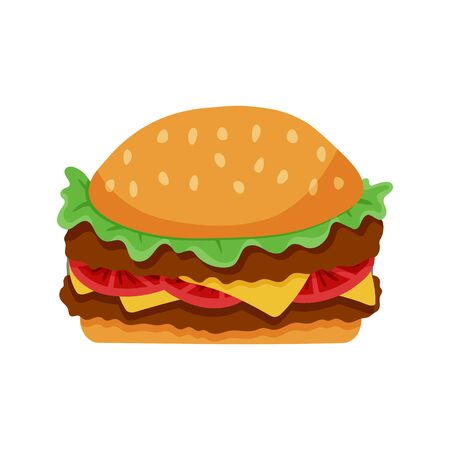 Double meat hamburger isolated Illustration. Trendy flat style for graphic design, web-site