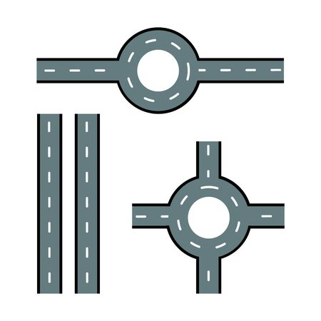 Road elements. Streets and roads set. Trendy flat style for graphic design, web-site. Stock Vector illustration