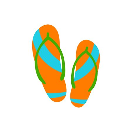 Flip flops in trendy flat style isolated. Beach slippers and summer footwear. Stock Vector illustration