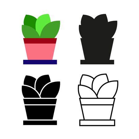 Set of house indoor plant on white background. Stock Illustration Imagens - 148508858