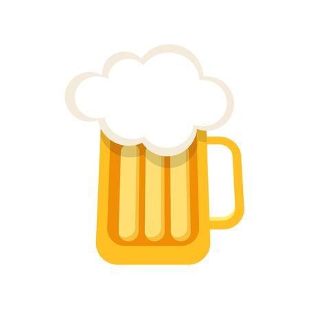 Full Glass Mug of Beer on white background. Stock Vector illustration Imagens - 148993126
