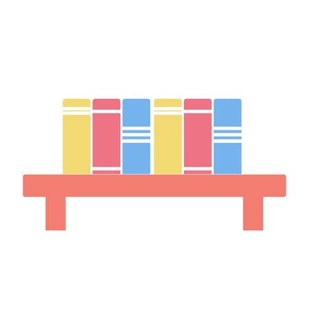 Row of colorful books on shelf, illustration on white background Imagens - 150310929