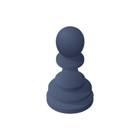 Chess Pawn on white background. Trend Isometric Stock Vector illustration. Imagens - 150234400