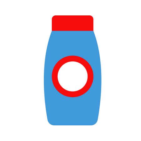 Shower gel. Blue bottle with a red cap. Vector illustration.