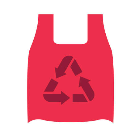 Red ECO bag with handles and a recycling symbol. Vector illustration Imagens - 151090908