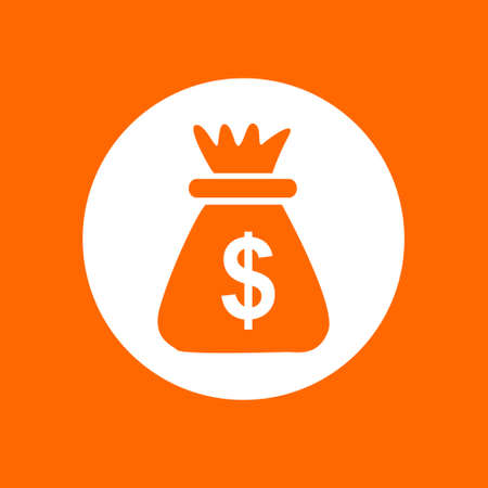 Money bag sign icon. In white circle on a orange background.