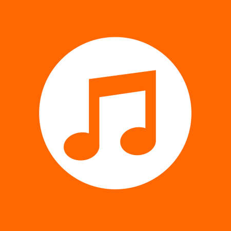Melody sign icon. In white circle on a orange background.