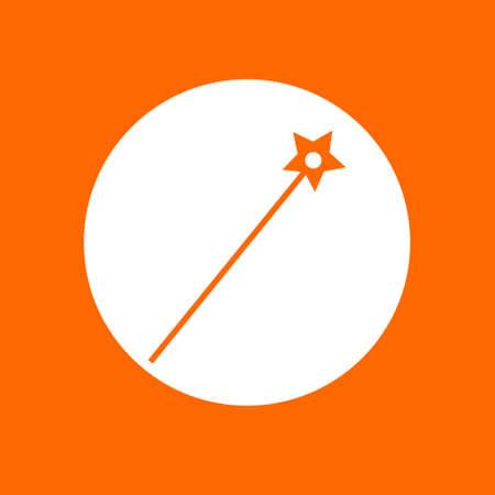 Magic wand sign icon. In white circle on a orange background. Ilustração