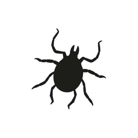 Beetle tick in trendy flat style isolated. Stock Vector illustration.