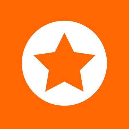 Five pointed star sign icon. In white circle on a orange background.