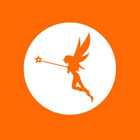 Fairy sign icon. In white circle on a orange background. Ilustração