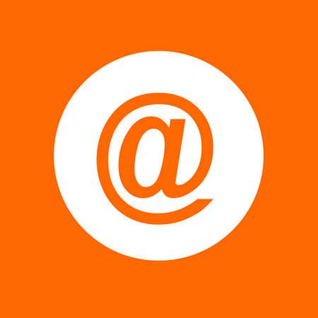 Email sign icon. In white circle on a orange background. Ilustração