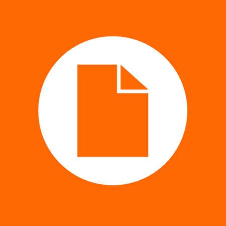 Document sign icon. In white circle on a orange background. Ilustração