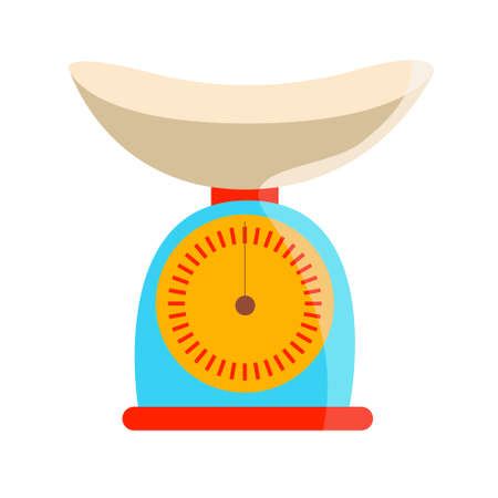Kitchen scale. Blue color with orange clock face. Vector