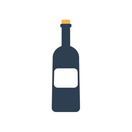 Wine bottle on white background. Vector illustration. Ilustração