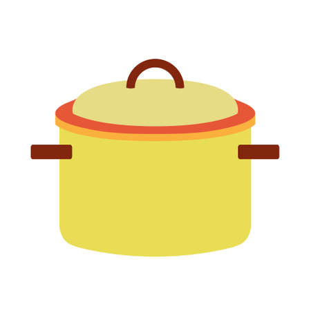 Steel yellow cooking pot with brown handles. Vector illustration