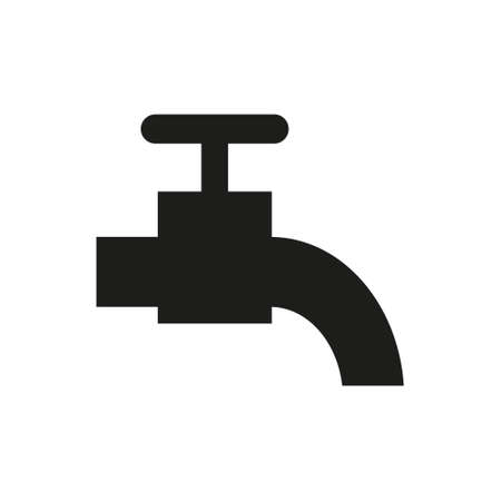 Water Faucet silhouette flat style on white background. Vector illustration.