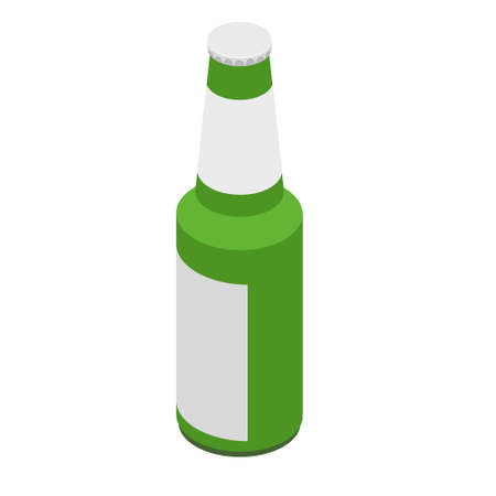 Glass Beer Green Bottle On White Background Isolated. With metal lid and white label Ilustração