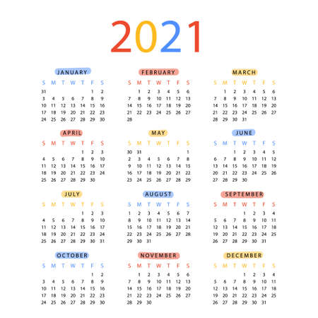 New year 2021 calendar in flat design Vector illustration. Week Starts on Sunday. Planner diary in a minimalist style. Monthly calendar ready for print.