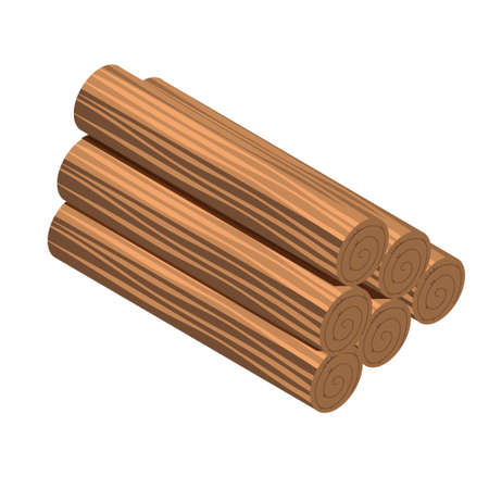 Wooden logs for forestry and lumber industry. Illustration of trunk. Six logs of brown color