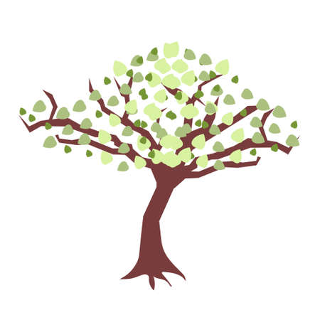Simple tree with green and light green colors leaves. Brown trunk Ilustração