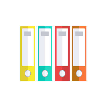 Office folders for storing contracts on white background. Colorful folder icon. Vector Illustration.