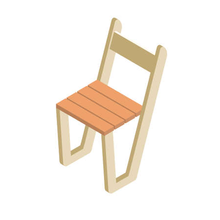 Wooden chair in modern style. Using for picnic and camping. Light white and light brown colors