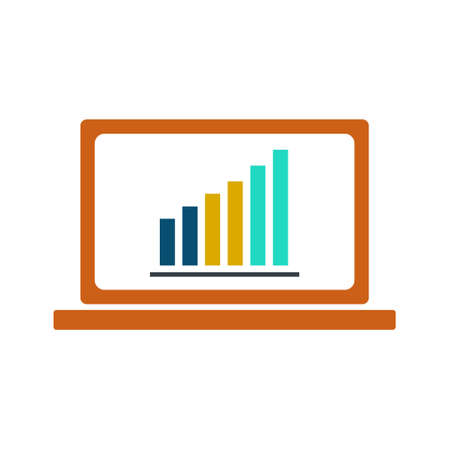 Laptop showing growth graph on screen on white background. Statistics on the screen. Vector Illustration. Ilustração