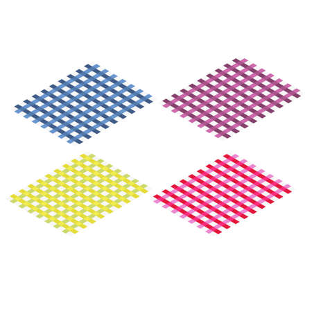Set of picnic mats. Colorful square style. Four carpet in red, blue, yellow and pink Ilustração