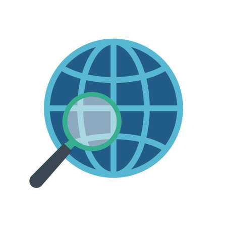 Magnifying glass with globe on white background. Analyzing the world. Vector Illustration. Ilustração