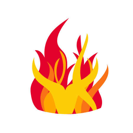 Fire with tongue of flame in orange, red, yellow colors. Ilustração