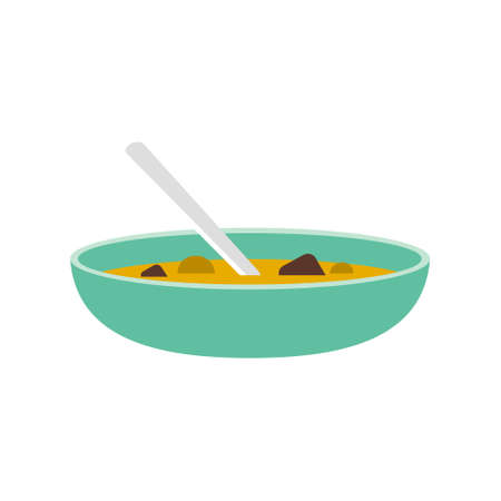 Hot bowl vegetable soup on white background. Cooked with fresh ingredients. Vector Illustration.