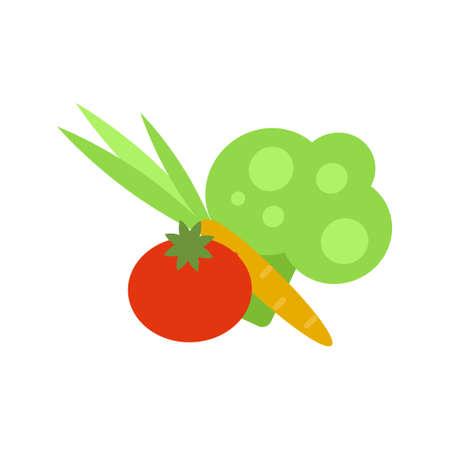 Set of fresh vegetables tomato, carrot and broccoli on white background. Ingredients for making salad. Vector Illustration. Ilustração