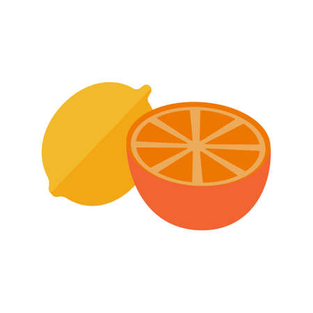 Fresh lemon fruits whole and half on white background. Used to add to black and green tea. Vector Illustration.