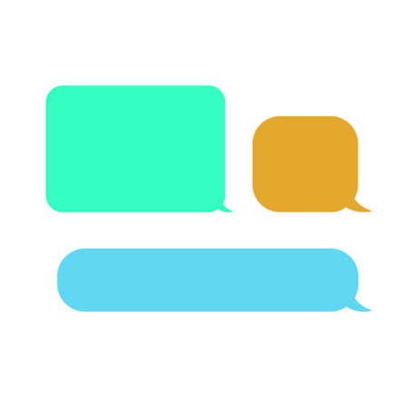 Empty colorful speech bubbles. Set of three objects. Green, blue, orange colors