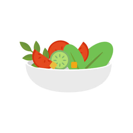Fresh and healthy salad with vegetables on white background. Vector Illustration.