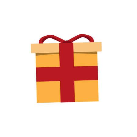Christmas gift box orange color with red tape. Symbol of birthday and christmas Ilustração