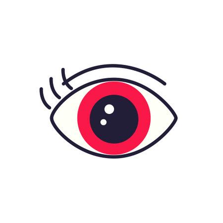 Red human eye on white background. Trendy flat style for graphic design, web-site. Vector illustration. Ilustração