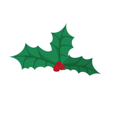 Holly berry raster icon. Merry Christmas symbol. Red mistletoe berries with green leaves