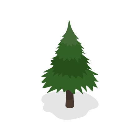 Green christmas tree on white background. Vector illustration.