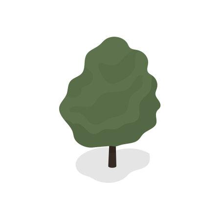 Green tree on white background. Vector illustration.