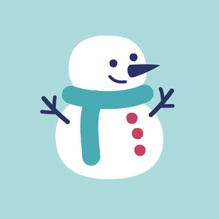 Simple snowman on light blue background vector image