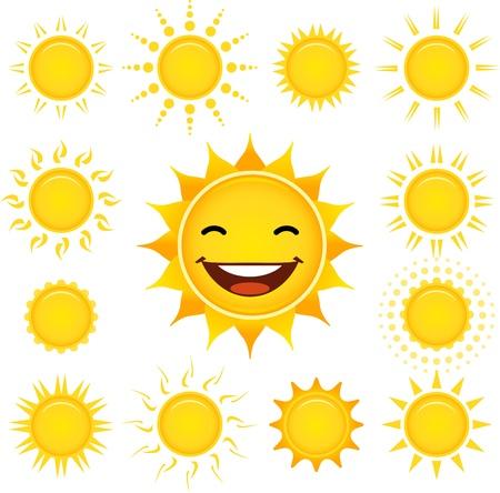 sonne: Stilisierte Sonne mit einem glücklichen eins gesetzt. Illustration