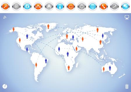 Weltkarte Hintergrund mit Kommunikations-Ikonen.